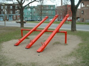 A set of playground seesaws.
